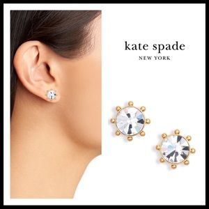 KATE SPADE CRYSTAL ROUND GOLD STUDS EARRINGS A3C